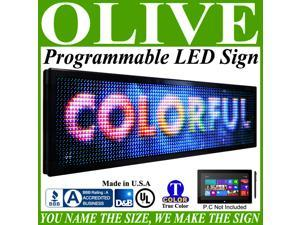 "Olive LED Signs Full Color p15, 12"" x 41"" programmable Scrolling Message board - Industrial Grade Business Tools"