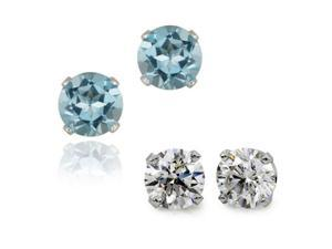 2.00 ctw Genuine Blue / White Topaz Earrings Set In Solid Sterling Silver (2 Pairs)
