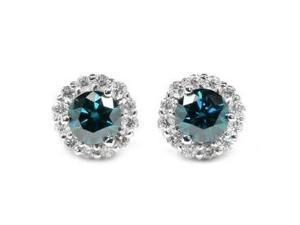 1.40CTW Blue & White Designer Earrings Set In Solid 14Kt Gold