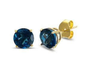 2.00 cttw Genuine London Blue Topaz Solid 14Kt Gold Stud Earrings