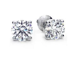 2.00 CTW Genuine White Topaz Stud Earrings Set In Solid 14K White Gold