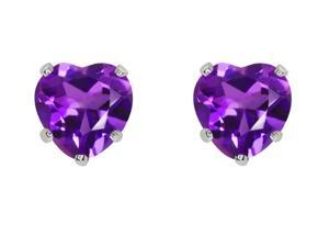 2.00ctw 6MM Amethyst Heart Earrings Set In Sterling Silver