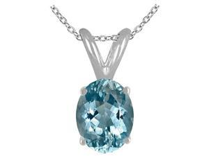 Sight Holder Diamonds 8X6 Genuine Aquamarine Pendant In Sterling Silver