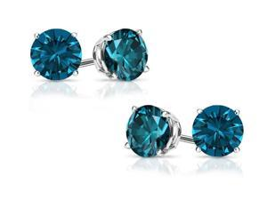 2.00 cttw Genuine London Blue Topaz Solid 14Kt White Gold Stud Earrings