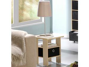 Furinno 11157SBE/BK End Table Night Stand with Bin Drawer (Steam Beech/Black)