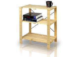 Furinno FNCJ-33013 Solid Pine Wood 3-Tier Shelf (Natural)