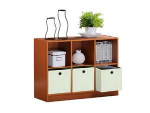 Furinno 99940LC/IV Bookshelf with Bins (Light Cherry/Ivory)