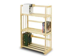 Furinno FNCL-33001 Solid Pine Wood 3-Tier Bookshelf (Natural)