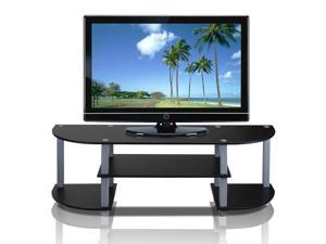 Furinno® 11058BK/GY Turn-S-Tube Wide TV Entertainment Center, Black/Grey