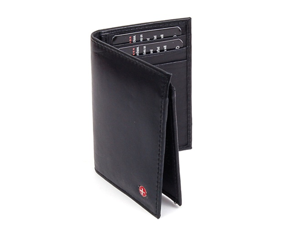 L Shape Trifold Mens Wallet Soft Lambskin Leather Secure Bill Section ID Window
