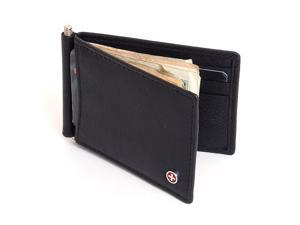Mens Wallet Money Clip Spring Leather Front Pocket Wallet Spring Clip 9 Cards NW