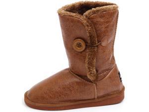Womens Comfort Boots Button Flats Slouch Australian Faux Sheepskin Shearling Fur