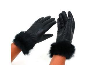 Womens Dressy Leather Gloves Rabbit Fur Trim Warm Thin Thermal Lining Insulation