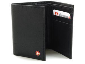 Alpine Swiss Men's Black Lambskin Leather Trifold Wallet