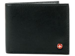 Alpine Swiss ASW172 Men's Leather Wallet Bifold Trifold Hybrid Foldout ID Euro Traveler