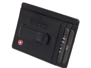 Alpine Swiss Men's Leather Spring Money Clip Front Pocket Wallet