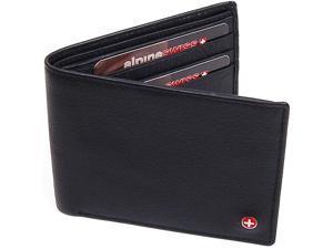 Alpine Swiss Mens Leather Wallet Flip Up ID Window 11 Card Slots 2 Bill Sections ID Window NW