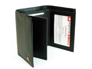 Alpine Swiss ASW173 Men's Leather Trifold Wallet - 10 Card Slots 2 IDs 2 Bill Sections