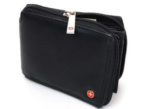 Mens Leather Bifold Wallet Zipper By Alpine Swiss Soft Leather Multi Pockets