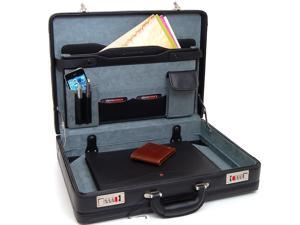 Expandable Leather Attache Case Briefcase Hard Sided Legal Size 1 Yr Warranty NW