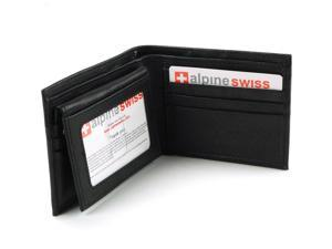 Men's Wallet By Alpine Swiss Genuine Top Grain Leather Removable 2 ID Card Case