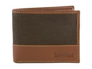 Timberland Mens Passcase Wallet Canvas & Leather Trim Bifold ID Card Case Holder