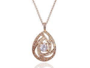 18K Rose Gold Plated Rhinestone Crystal Pendant Necklace