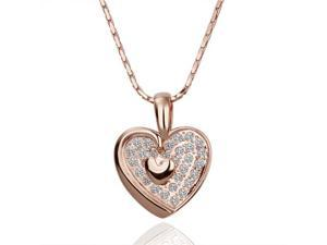 18K Rose Gold Plated Heart SWAROVSKI ELEMENTS Pendant Necklace