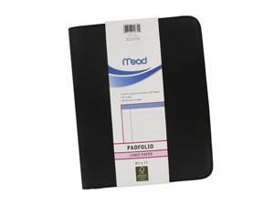 "Mead Padfolio, Black, 8.5"" x 11"" Lined Paper, Each"