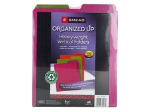 Smead Organized UP Heavyweight Vertical File Folders, Dual Tab, Letter Size, Assorted Colors, Pack of 6 (75406)