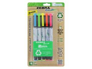 Zebra Eco Zebrite Double-Ended Highlighter, Chisel/Fine Point Tip, 5/Set, ST - ZEB75005