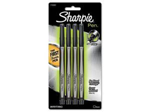 Sanford Sharpie Plastic Point Stick Permanent Water Resistanat Pen, Black Ink, Fine Point, 4 per Pack, PK - SAN1742661