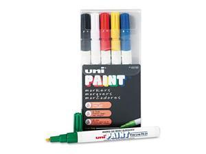 Sanford uni-Paint Markers, Fine Point, Assorted, 6/Set, ST - SAN63720