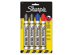 Sanford Sharpie King Size Markers, Chisel Tip, Blue/Red/Black, 4/Set, ST - SAN15674PP