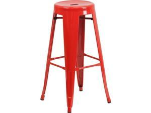 Flash Furniture 30'' High Backless Orange Metal Indoor-Outdoor Barstool with Round Seat