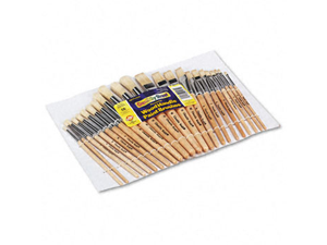 Chenille Kraft Company CKC5172 Wood Brushes- Natural Hog Bristles- 12 Round-12 Flat