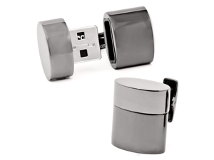 Gunmetal Oval 4GB USB Flash Drive Cufflinks
