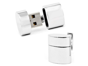 Silver tone Oval 4GB USB Flash Drive Cufflinks