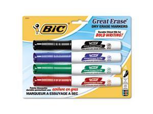 Great Erase Grip Dry Erase Markers, Chisel, Assorted, 4/Set - GDEMP41ASST