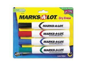 Desk Style Dry Erase Markers, Chisel Tip, Assorted, 4/Set - AVE24409