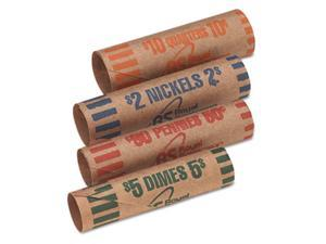 Preformed Tubular Coin Wrappers, 54 Each Pennies/Nickels/Dimes/Quarters, 216/Box - FSW216N