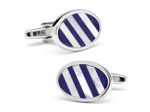 Lapis & MOP Diagonal Stripe Cufflinks