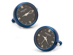 Blue Stainless Steel Functional Watch Cufflinks