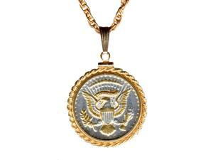 Real Kennedy half dollar coin gold & silver tone Chain Necklaces