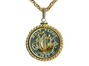 "gold & silver tone Sailing ship 18""chain nacklaces-103W"