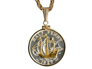 Gorgeous 2-Toned Gold & Silver British Sailing ship Coin Necklace-S-103W