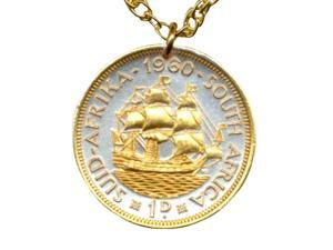 Gold on Silver Coin Necklace South African Penny Sailing Ship-N-114B