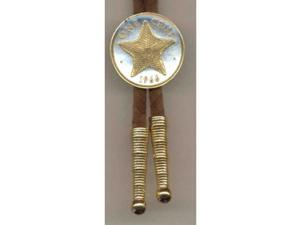Gorgeous 2-tone Gold on Silver Star fish World Coin Bolo-Tie-BT-153
