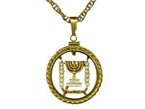 Stunning Menorah gold & silver tone coin cut outs Bezel Chain nacklaces-C-170RB