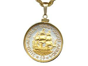 Gold & silver Coin Necklace South African Penny sailing Ship-S-114B